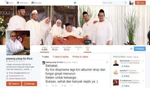 Tweet terakhir mas Pepeng tanggal 30 Agustus 2015