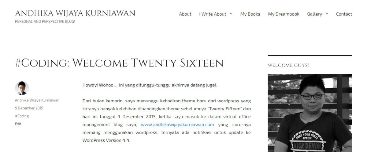 #Coding: Welcome TwentySixteen