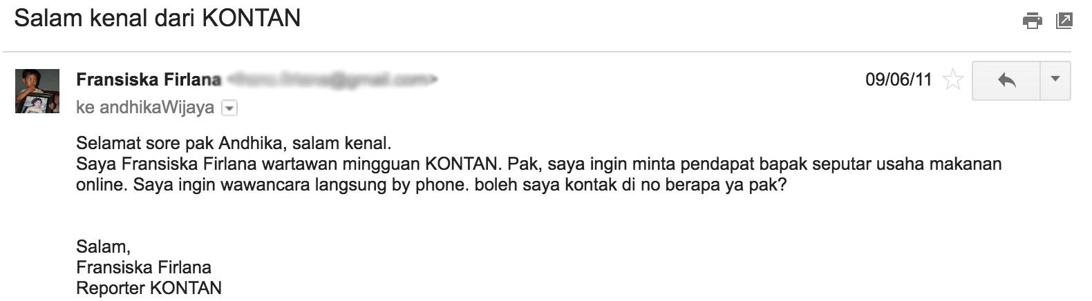 Email dari Wartawan KONTAN, Fransiska Firlana